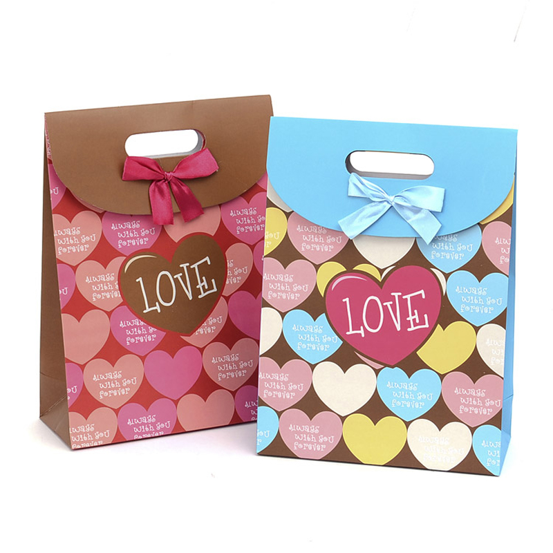 20 pieces/lot)Love Heart Paper Gift Shopping Bag Full of