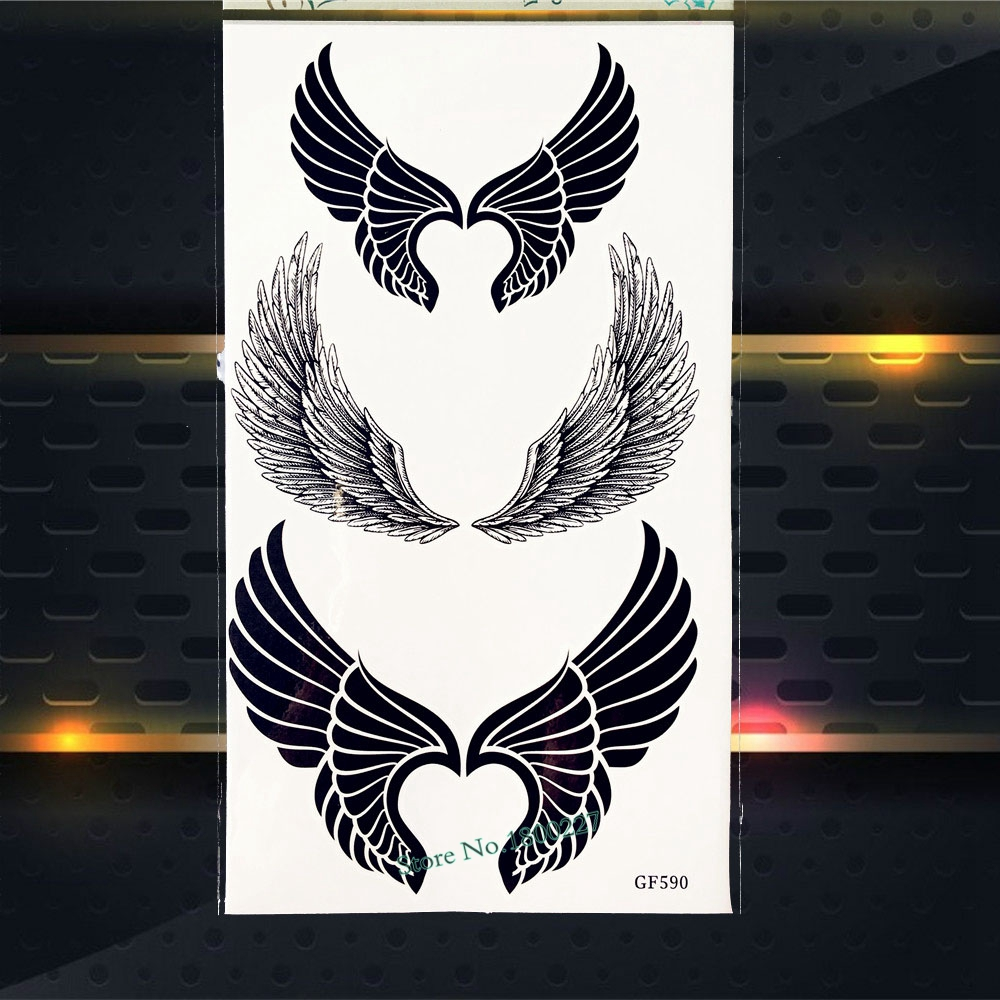 Black Dark Angel Wings Temporary Tattoo Sticker Women Girls Body Art Arm Tattoo Stickers PGF590 Flash Fake Removable Tattoo
