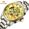 BINSSAW Automatic Skeleton Mechanical Watch Mens Fashion Business Luxury Brand Stainless Steel Watches Men Gold Tourbillon
