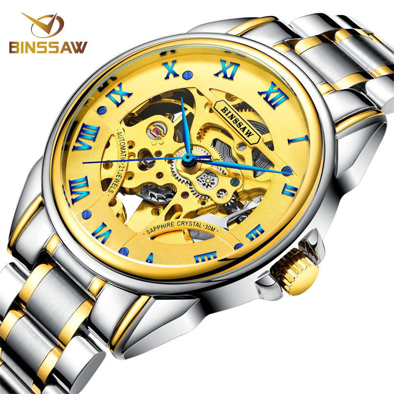 BINSSAW Automatic Skeleton Mechanical Watch Men Fashion Business Wristwatch Luxury Brand Stainless Steel Gold Tourbillon Watches ice cream style usb 2 0 flash drive disk brown white 16gb
