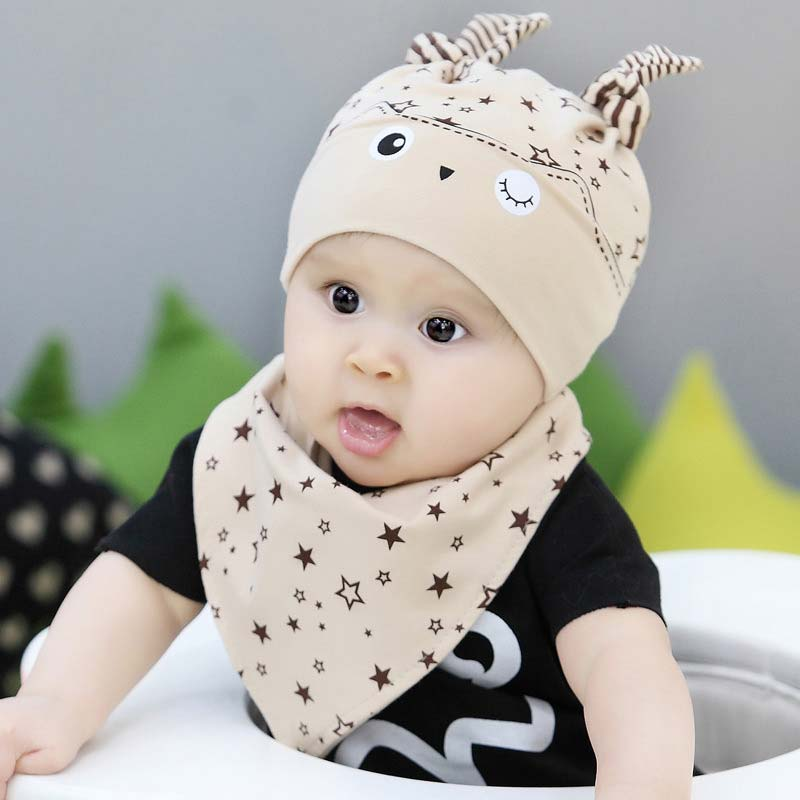 Mother & Kids Newborn Baby Cotton Sleep Hat Cartoon Fashion Baby Photography Accessories Caps+bibs 2pc Set For Infant Boy Girl Toddler Clothes Hats & Caps