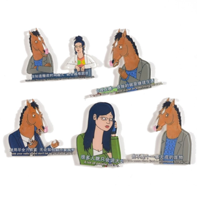 1PC Cartoon Horse Man Acrylic Brooches Hat Guitar Brooch Denim Jacket Pin Badge Fashion Jewelry Decor