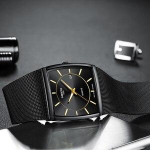 Image 3 - NIBOSI トップブランドの高級男性スクエアクォーツ時計男性防水日付時計黒メッシュステンレス鋼の腕時計 2019