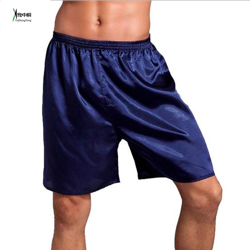 Summer New Men's Solid Satin Pajamas Pyjamas Pants Male Casual Lounge Short Pants Loose Soft Sleep Bottoms Size L XL 2XLTBG0612
