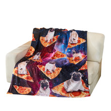 Red & Navy Pizza Space Dog Fleece Throw blanket for baby blanket and Adult blanket(China)