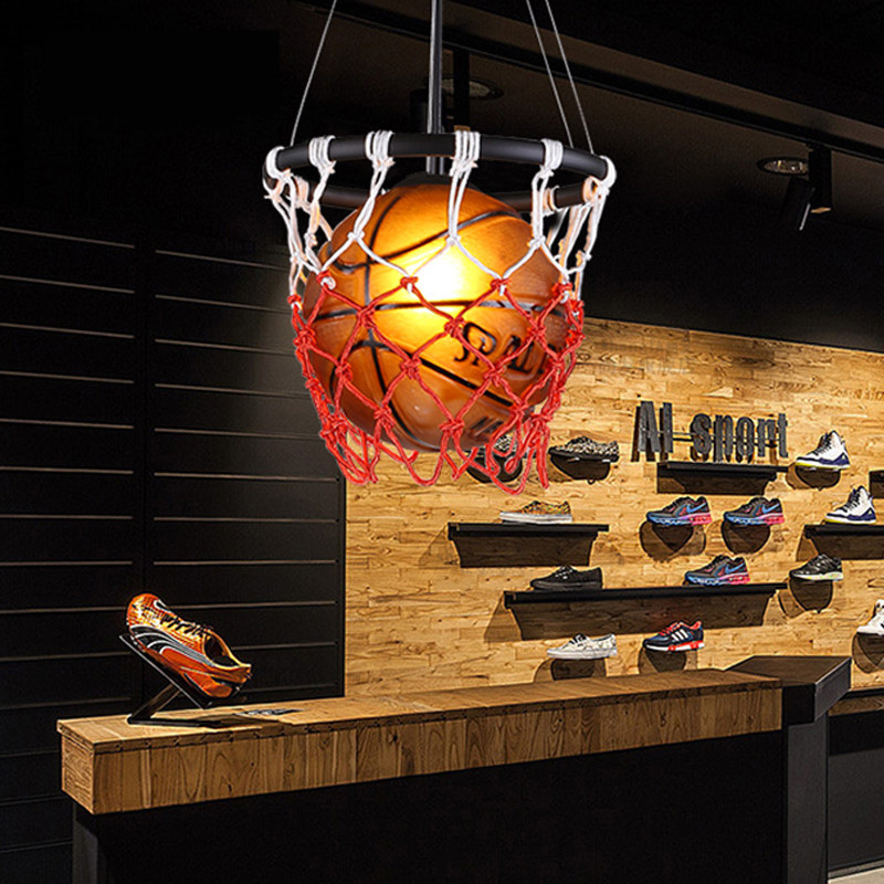 Image 2 - American Vintage Sport Theme Bar Basketball Soccer Hanging Light Childrens Room personality Football Pendant Lights Bedroom Boy-in Pendant Lights from Lights & Lighting