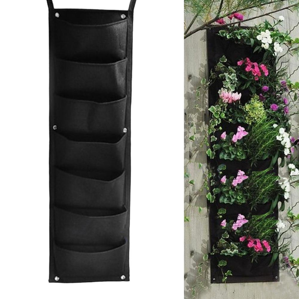 Wall-mounted 7 Pocket Plant Grow Bags Hanging Vertical Garden Planter Herb Pot Grow Bags for Family garden/Balcony garden
