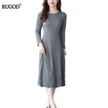 Rugod Для женщин вязаное платье 2018 Новое осень-зима длинные драпированные платья Для женщин упругая тонкая o-образным вырезом Свитер с длинными рукавами платье vestidos