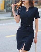 Summer Women Dress Slim Fashion Ladies Office Dress Work Wear Female OL Style Short Sleeve Vestidos Business Women Clothes
