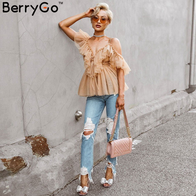 BerryGo women blouse Vintage ruffle summer blouses shirt tops Off shoulder sexy peplum top female Mesh backless blouse blusas 3