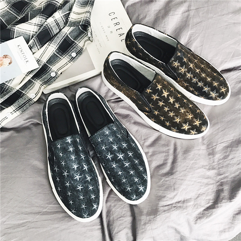 Leather Mens Loafers Shoes 2017 Fashion Men Flats Casual Shoes Slip On Outdoor Walking Men's Boat Shoe with Star Sliver Gold 2017 autumn fashion men pu shoes slip on black shoes casual loafers mens moccasins soft shoes male walking flats pu footwear