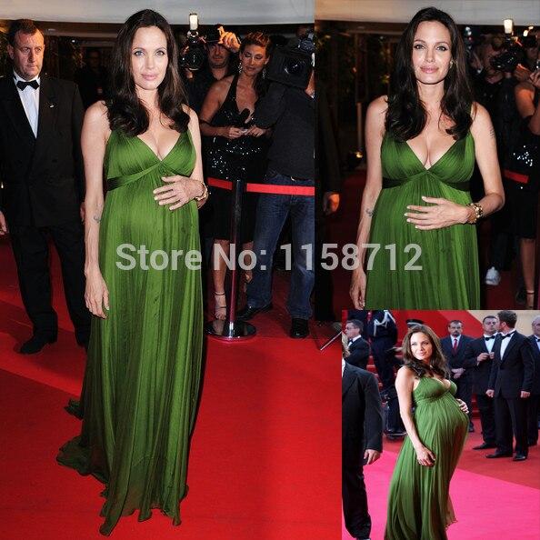 FUN2059 Angelina Jolie red carpet green chiffon long ruffle evening ...