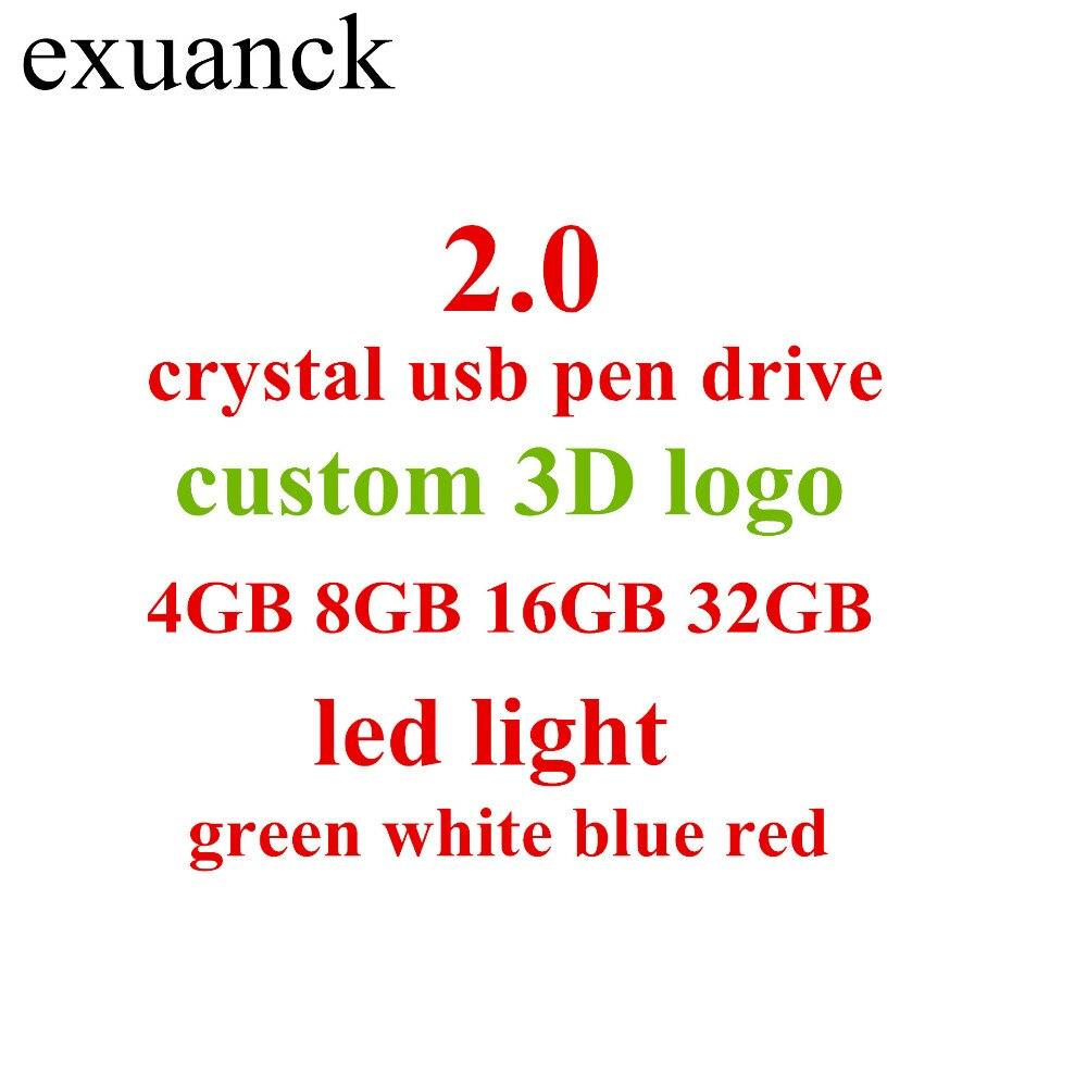 Computer & Office Usb Flash Drives 2018 New Custom Diy 3d Inside Logo Long Crystal Stick Usb 2.0 Memory Flash Stick Pen Drive