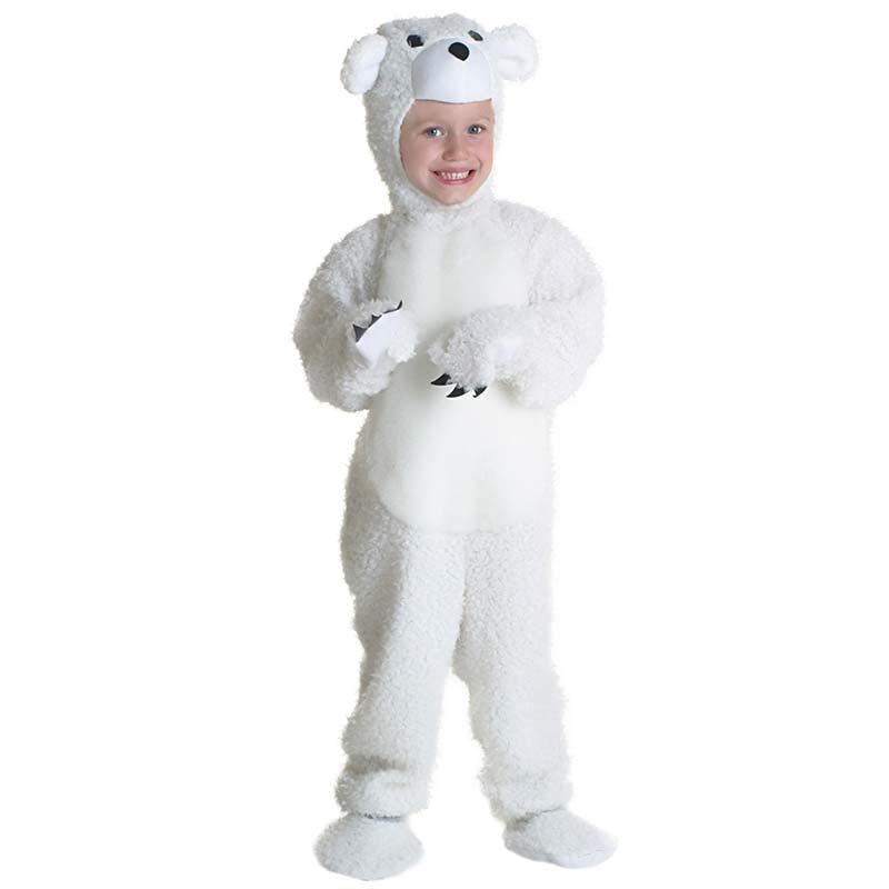 Toddler Bear Costume Small Cute Polar Bear Cosplay Halloween Costume For Kids Baby Bodysuits Animal Winter Warm Fur Costumes