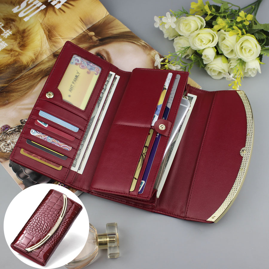 Gift Coin Large Capacity Genuine Leather Women's Wallet Fashion Patent Leather Wallet Female Luxury Clutch Ladies Cowhide Wallet
