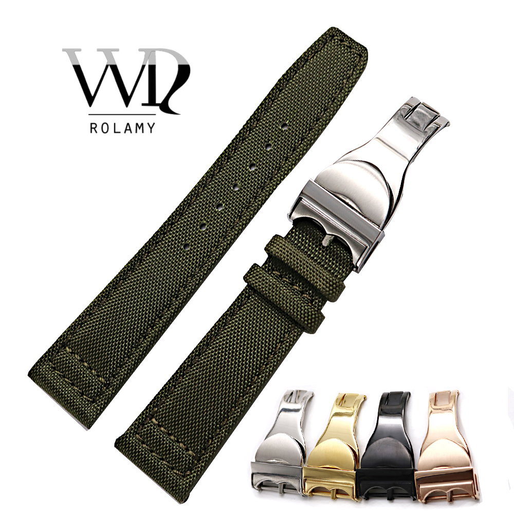 Rolamy Watch Band 20 21 22mm Nylon Fabric Leather For Tudor Omega IWC Rolex Replacement Wrist Loops Strap Deployment Clasp