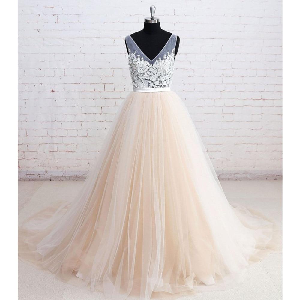 2019 New Champagne Tulle Wedding Dresses V Neck A Line