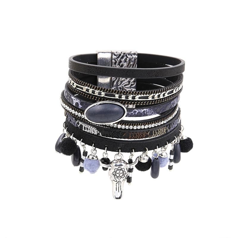 Bracelet PU Leather Vintage Bracelets & Bangles For Women Pulseira Bohemian Multi Rows Ox Head Fur Cones Charm Pendant Bracelet