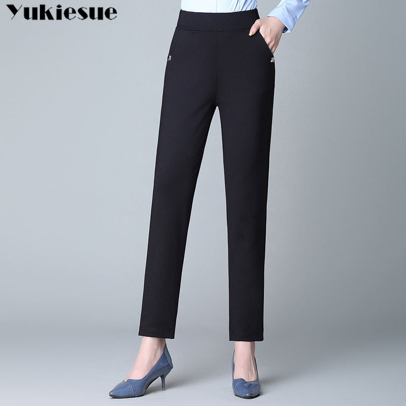 2019 summer women's   pants     capris   pantalones mujer femme with high waist skinny pencil   pants   for women trousers Plus size black