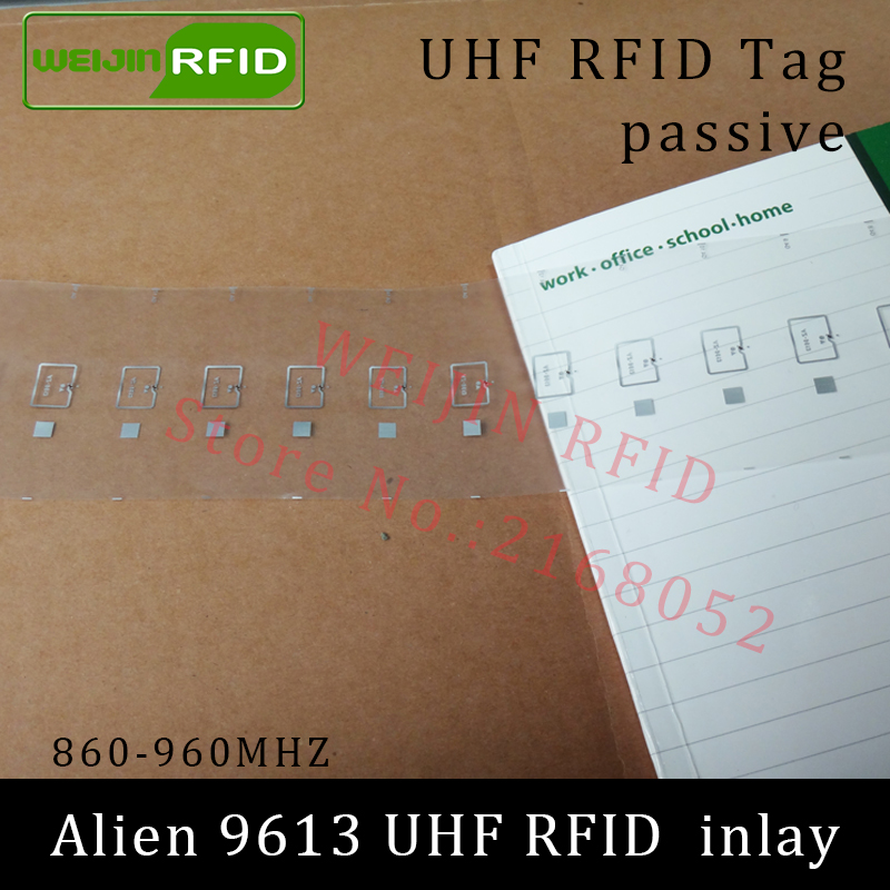 UHF RFID tag Alien 9613 dry inlay 915mhz 900mhz 868mhz 860-960MHZ Higgs3 EPC C1G2 ISO18000-6C smart card passive RFID tags label 1000pcs long range rfid plastic seal tag alien h3 used for waste bin management and gas jar management