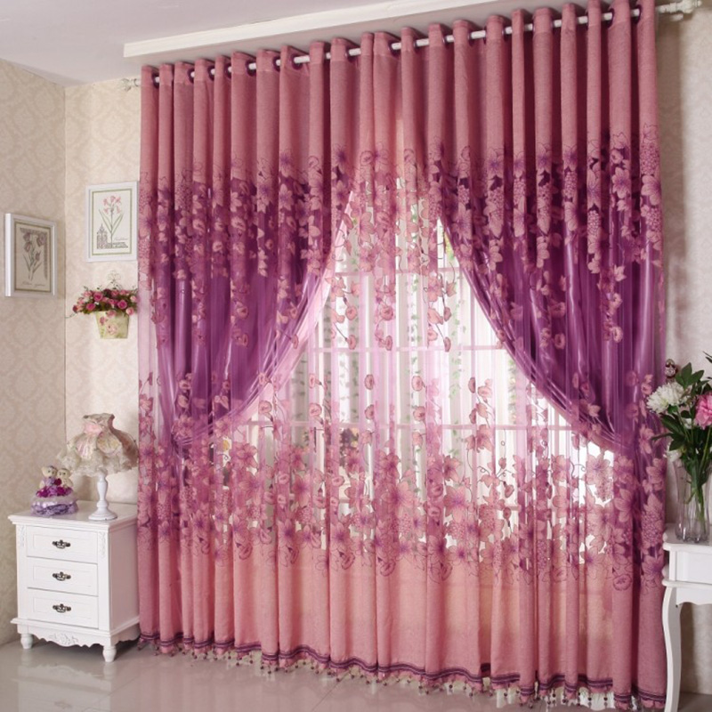 Curtains Valances Drape-Panel Door Sheer Window Floral-Tulle for Scarf 250cm-X-100cm