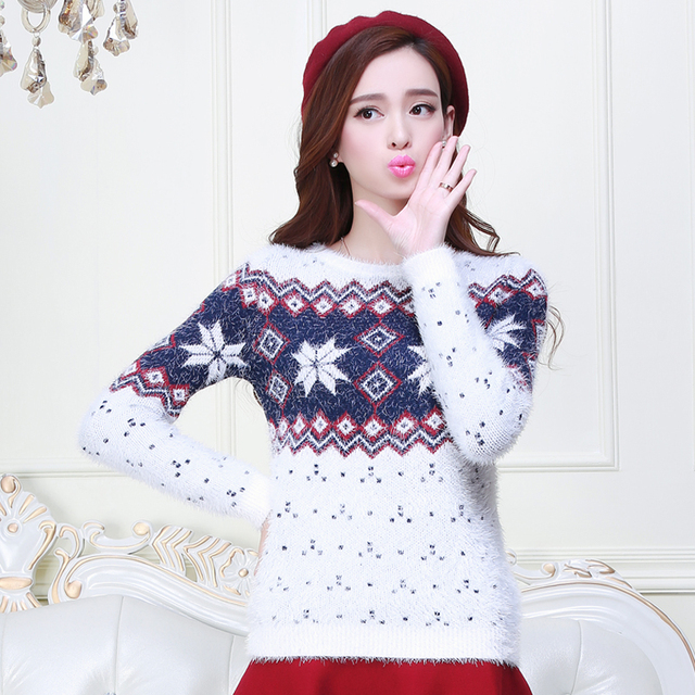 f013040357 New Winter Women Sweaters And Pullovers Long Sleeve Couple Christmas  Sweater Snowflake Thick Christmas Jumpers Cashmere Sweater