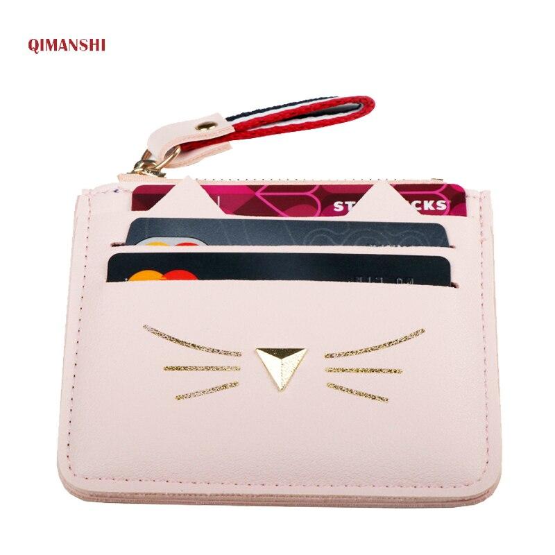 QIMANSHI Для женщин портмона держатель для карт кошелек мини кредитной держатель для карт s для женщин прекрасный кот уха Card наличными кошелек ...
