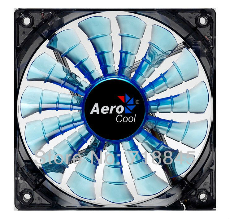 Wholesale Aerocool 12V 4Pin &3Pin 120mm x 25mm 12025 Cool Fashion 15 Shark fin leaves Mute Blue Color PC Case System Cooling Fan aerocool 15 blade 1 56w mute model computer cpu cooling fan black 12 x 12cm 7v