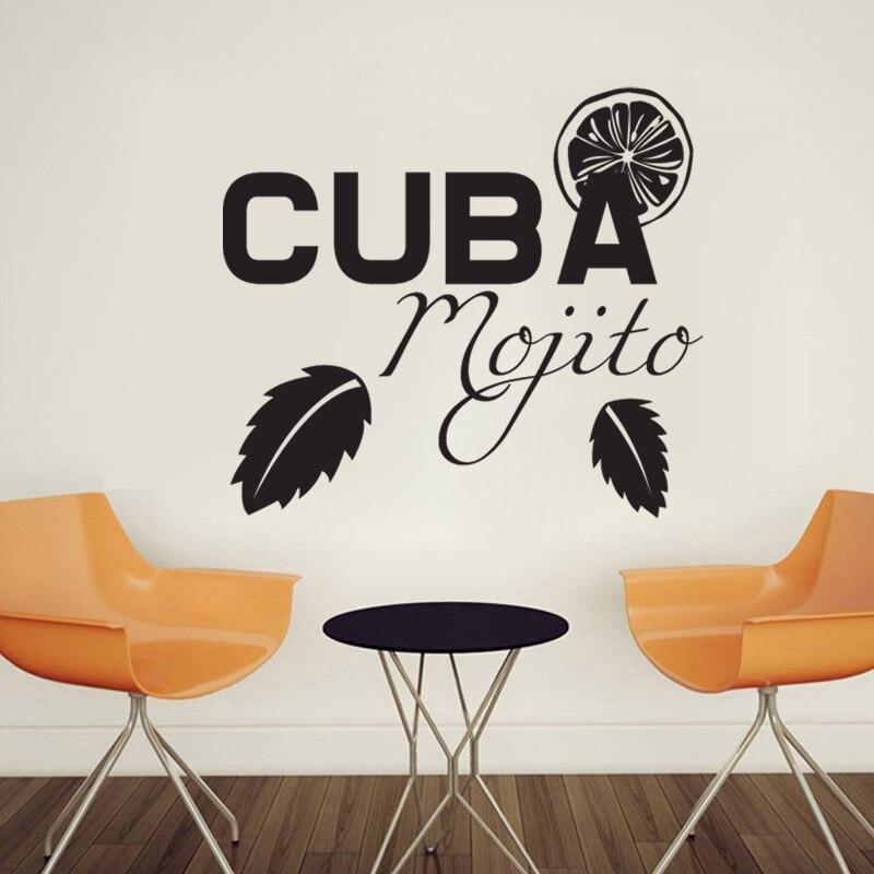 Creative Cuba Moggito Art Sticker Restaurant Kitchen Removable Vinyl ...