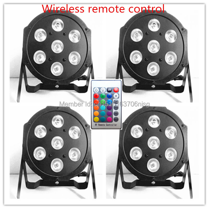 ФОТО 4 pieces Promotional Packaging hot new Wireless remote control LED SlimPar 7x9W RGB 3IN1 DJ Light Stage Uplighting Free Shiping