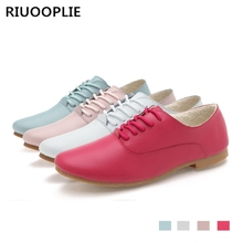 RIUOOPLIE Spring women oxford shoes ballerina flats genuine leather moccasins lace up loafers white