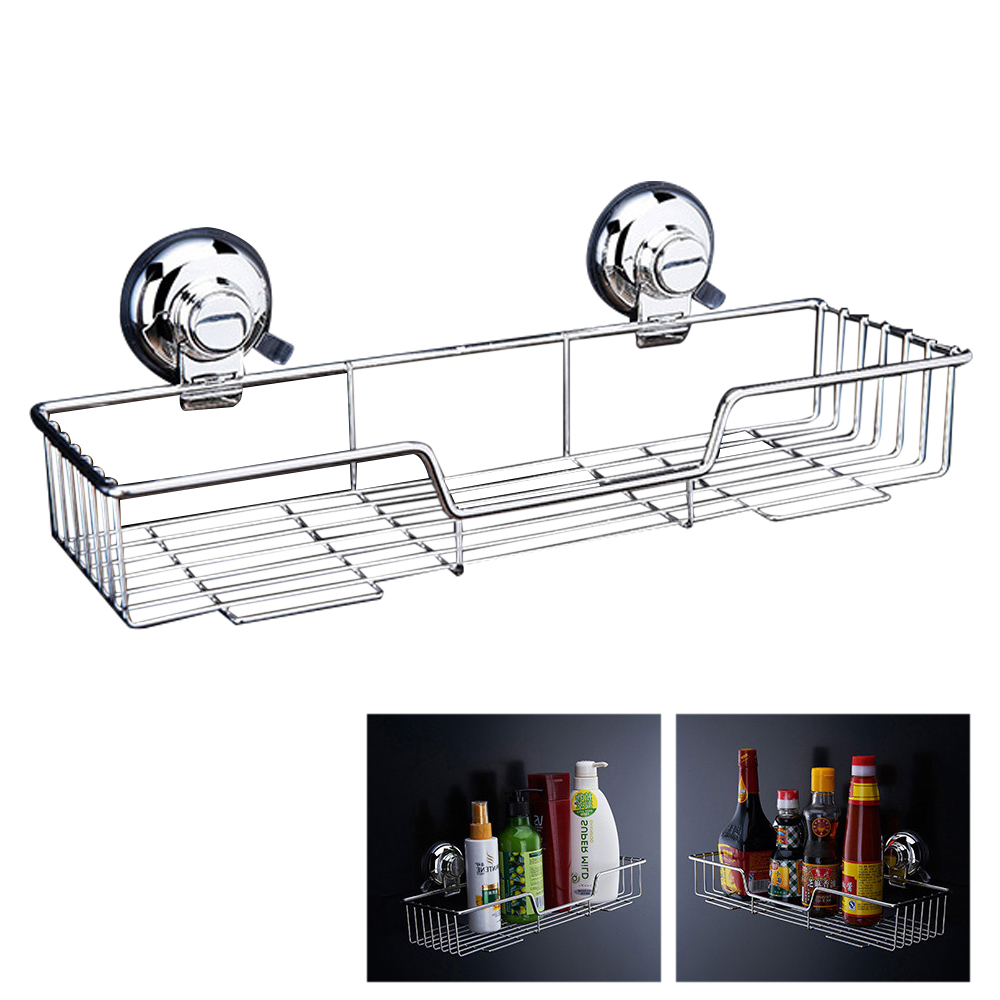 Bathroom Storage Basket Shelf 304 Stainless Steel Rack Wall Mounted Strong Suction Cup Basket Holder Bath Supplies