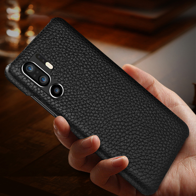 Funda de cuero auténtico Retro de piel de vaca para Huawei P30 P20 Pro P10 Plus funda trasera ultrafina para Huawei P30 Pro