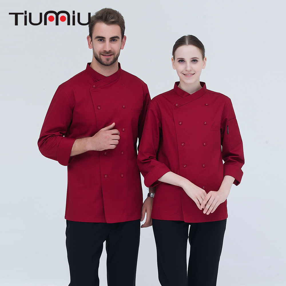 Black White High Quality Chef Uniform Long-sleeve Double Breasted Kitchen Cook Clothes With Pocket Bakery Restaurant Chef Jacket
