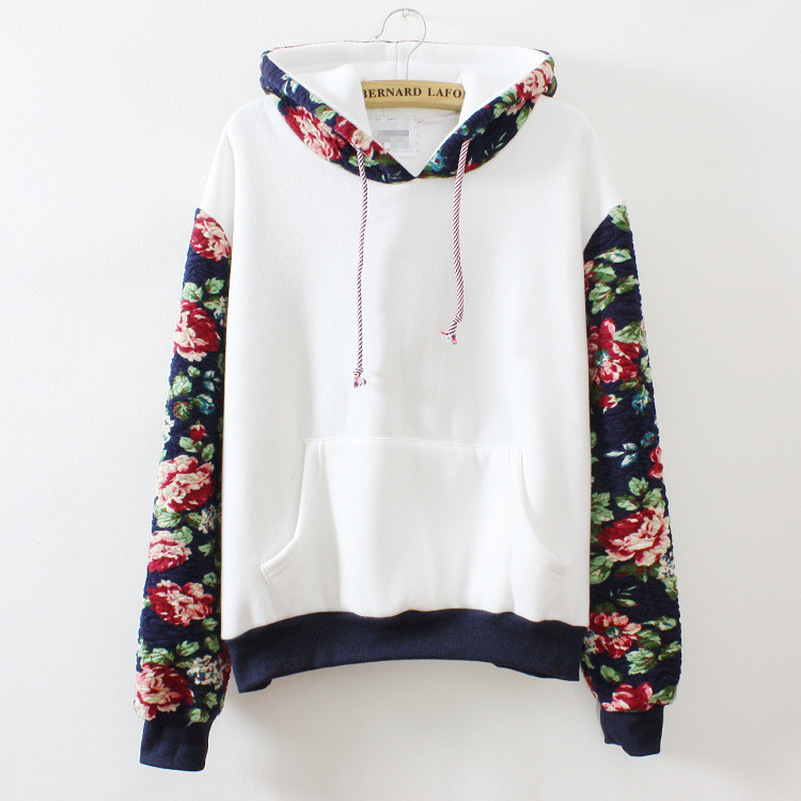 Patchwork Flower Sleeve Hoodies Sweatshirts 2020 Women Casual Kawaii Fashion Sweat Punk Clothing European Tops Korean