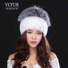 YCFUR New Design Women Hats Winter Stripes Natural Rex Rabbit Fur Beanies With Silver Fox Fur Berets Female Pompom Caps