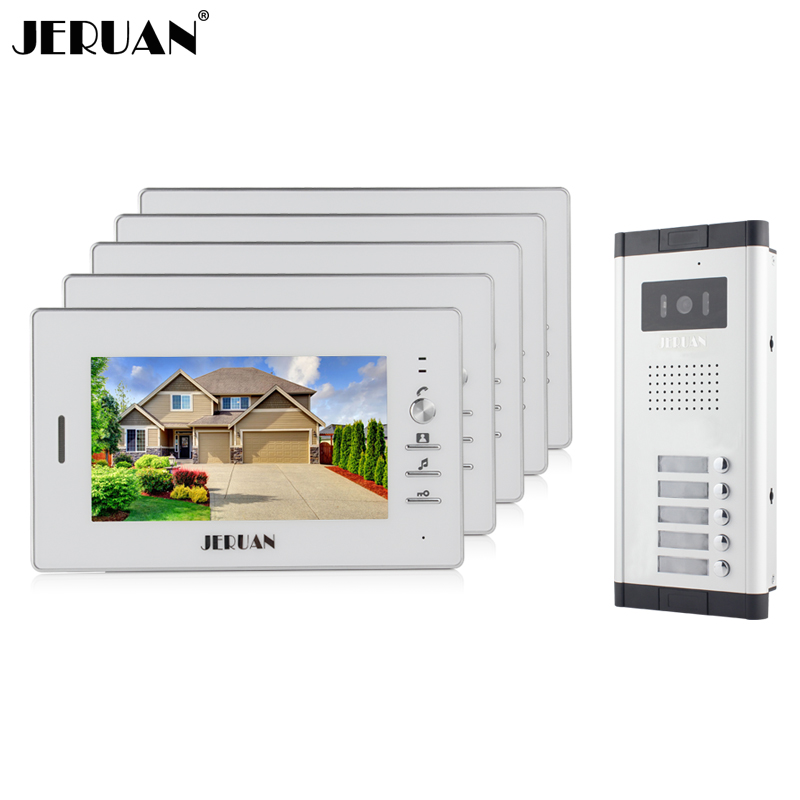JERUAN Wholesale Apartment 7 Video Intercom Door Phone Entry System 5 Monitors + 1 Doorbell Camera for IN Stock FREE SHIPPING wired 7 video door phone intercom doorbell entry system 2 monitors villa house waterproof camera in stock free shipping