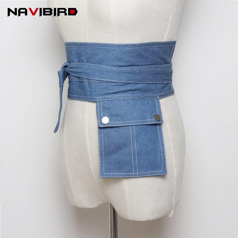 Womens'S Bow Tie Blue Denim Belt Corset For Dress Blouse 2018 Summer All Match Waist Belt Bag Designer Jeans Cummerbunds Riem