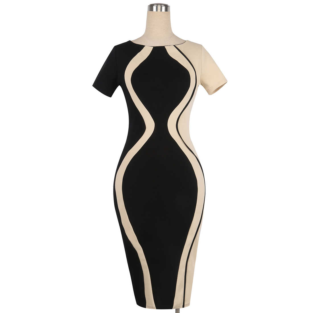 3a1d8a6e2d567 Oxiuly Womens Elegant Optical Illusion Color Block Contrast Patchwork  O-Neck Bodycon Work Casual Ladies Office Wear Pencil Dress