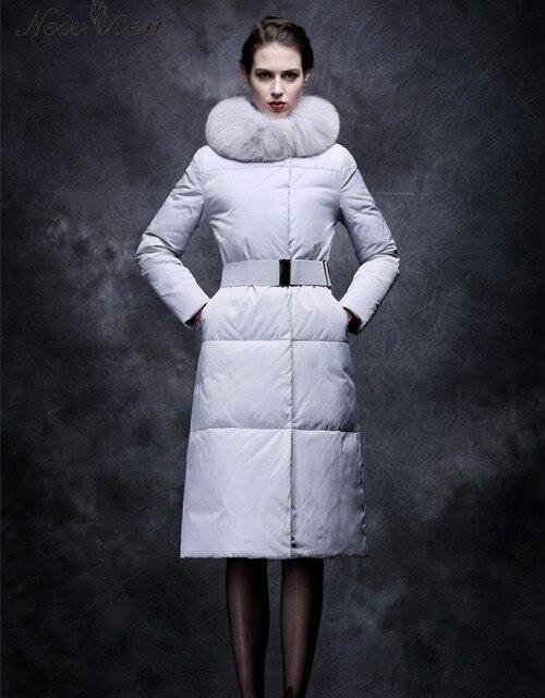 2017 Mulheres Casaco de Inverno Elegante Casaco Longo X-Com Fox Gola De Pele E Cinto Eiderdown Algodão Acolchoado Parka Abrigos Mujer Casacos