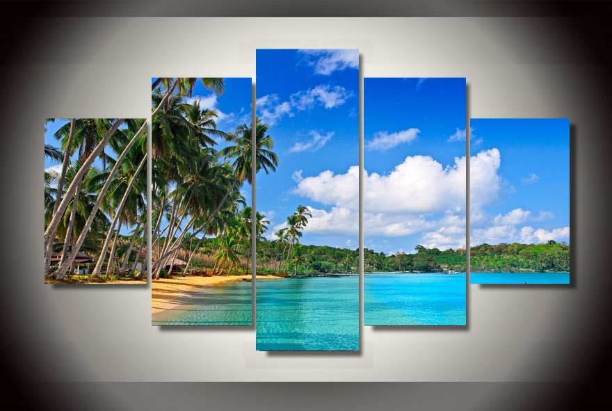 Wonderful beach coco seascape modern wall painting home decor print art 5 pcs wall pictures for living room
