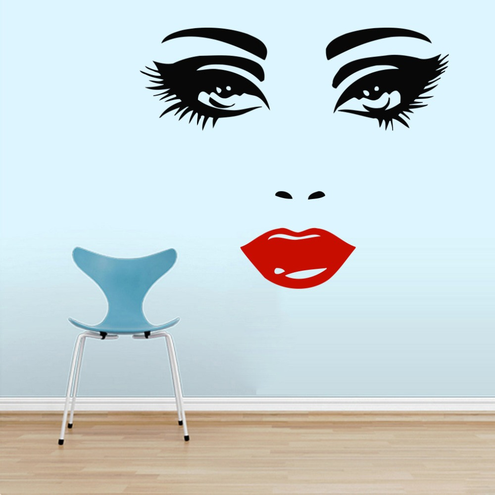 Beautiful make up girl big eyes lips cosmetic hairdressing for Wallpaper decals