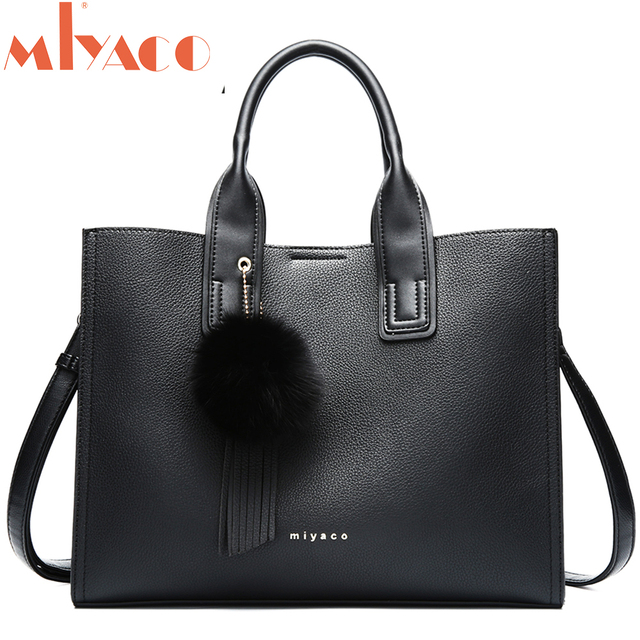 MIYACO Handbag for Women Leather Tote Bags Designer Handbags Elegant Crossbody Bags Ladies Hand Bags with Tassel&Furry ball 1