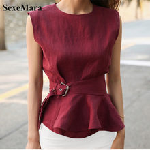 High Quality 2019 Women Fashion Shirts O-neck Sleeveless Belted Peplum Blouse Elegant Chic Red Summer Tank Top Femme Chemise(China)