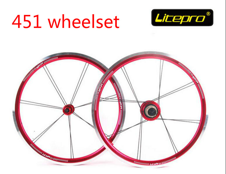 Litepro top quality 20inch 451 folding bike V brake wheelset bmx wheels 451 bicycle wheelset bmx parts new folding bike wheel set litepro 20inch 451 wheelset 74 100mm 130 135mm 14 16h 4beraing hub froth rear quick release wheels