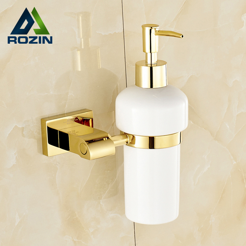 Free Shipping Golden & Ceramic Bathroom Liquid Soap dispenser Bottle Wall Mounted Hand Sanitizer Holder wall mounted elbow hand sanitizer soap dispenser used in hospital for holder