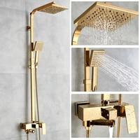 Ванна Смесители роскошный золотой латуни Ванная комната кран смесителя настенные ручной Насадки для душа комплект смеситель для душа набо