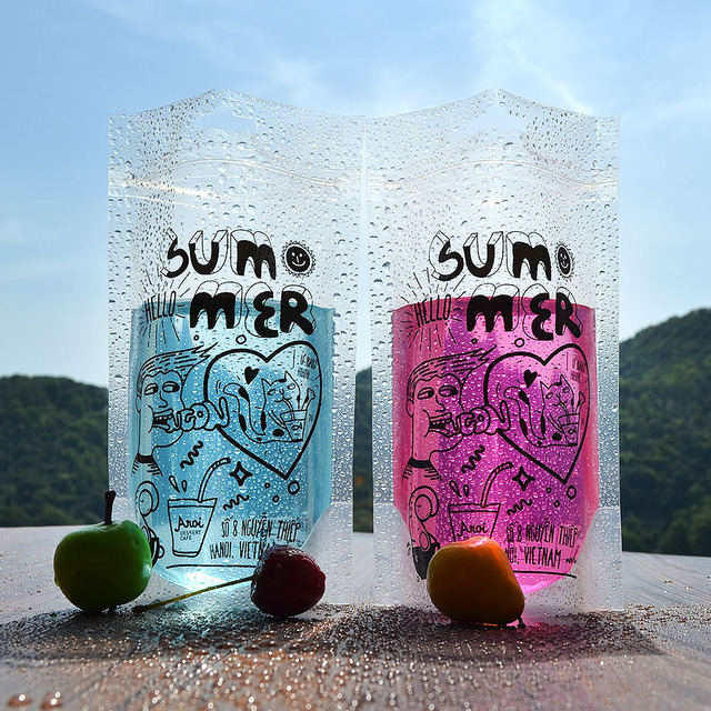 Hello summer Transparent beverage bag wtih Aircraft bore Plastic ziplock Stand up pouch for 450ml liquid drinks packaging 100pcs