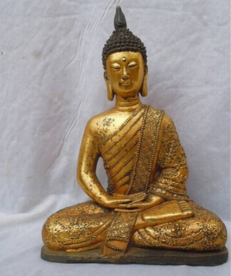 Antique bronze pur cuivre laiton 11 pouces bronze doré thaïlande bouddhisme bouddha statues