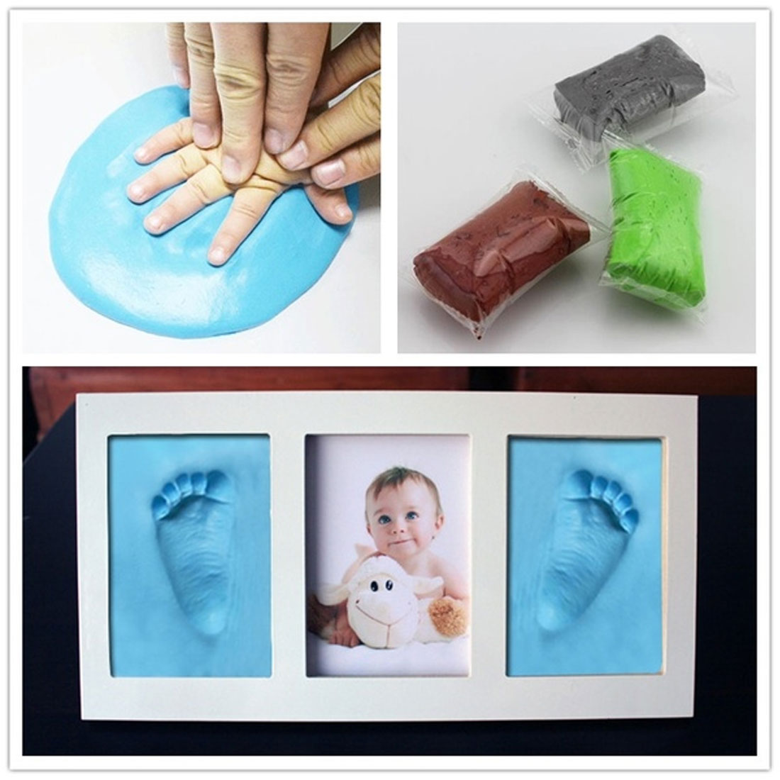 Baby Footprint Ultra Light Stereo Baby Care Air Drying Soft Clay Baby Hand Foot Imprint Kit Casting DIY Toys Paw Print Pad
